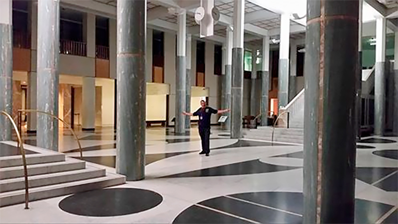 Alone in the Marble Foyer in Australia's Parliament House